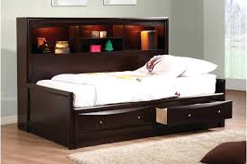 Full Platform Bed With Headboard Bookcase Masculine Boys Room Design Idea Featured Black Full