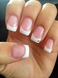 french tip gel nails with gem by ocean nails spruce grove nails