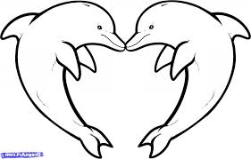 easy dolphin drawing 6 pics of dolphin heart coloring pages easy