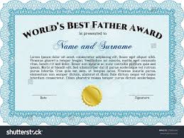 worlds best father certificate award template stock vector