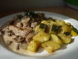 cuisiner cote de porc recette de côte de porc à la crème et aux chignons la recette