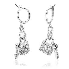 lock earrings lock and key charm dangle huggie hoop earrings