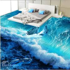 3d flooring wonderful design happy dolphins in the sea wave pattern