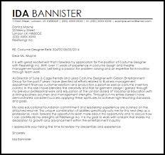 costume designer cover letter sample livecareer