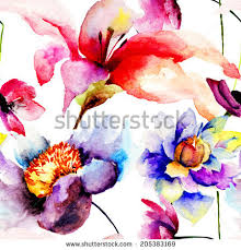 Wallpaper With Flowers Decorative Colorful Composition Flowers Flying Insects Stock