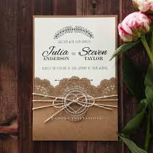 wedding invites country style invitation with lace and twine pocket card