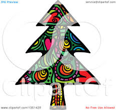 clipart of a colorful patterned folk art christmas tree royalty
