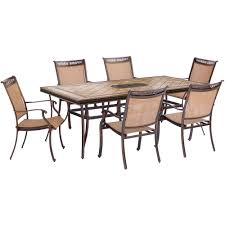 Agio Manhattan by Agio Somerset 7 Piece Aluminum Round Outdoor Bar Height Dining Set