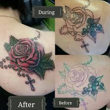 rose rosary cover up tattoo by jeffrey ziozios at bay city