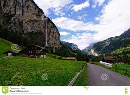 country road and farm houses in lauterbrunnen valley jungfrau