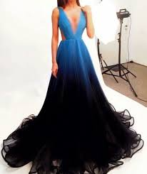 prom dress prom dresses ombre prom dress simple chiffon black blue