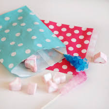 eco friendly polka dotted paper candy buffet party favor bags
