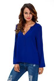 royal blue blouse top royal blue v neck button detail dip back blouse top inxcy