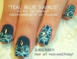 easy gradient filigree nail art on teal nails design tutorial
