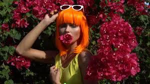 futuristic style happy beautiful woman in modern futuristic style posing with