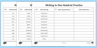 number words one to a hundred writing practice worksheets