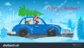 christmas jeep clip art man dog car carry christmas tree stock vector 727181254 shutterstock