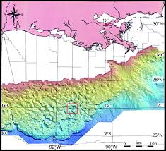 Gulf Of Mexico Depth Map by Brine Volume And Salt Dissolution Rates In Orca Basin Northeast