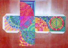 op art cubes and repousse masks