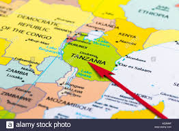Maps Of Africa by Red Arrow Pointing Tanzania On The Map Of Africa Continent Stock