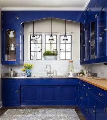 blue kitchen cabinets with white decor kitchen