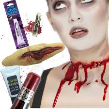 Halloween Makeup With Liquid Latex by Slashed Throat Halloween Fx Zombie Make Up Blood Face Paint Fancy