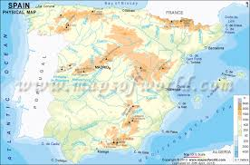 physical map of spain spain physical map physical map of spain