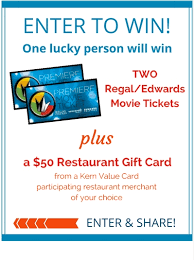 enter to win tickets restaurant gift card kern value card