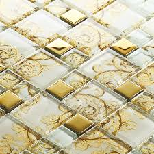beige crystal glass mosaic tile hand painted gold plated tile wall