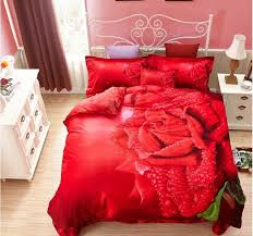 Wedding Comforter Sets 3d Red Rose Wedding Bedding Set Quilt Duvet Cover Bedroom Bed