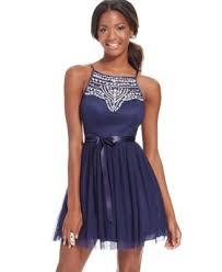 b darlin juniors u0027 jeweled illusion fit and flare party dress