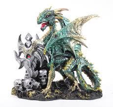 hand paint green dragon shield with skulls dark legend home decor