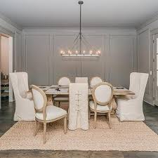 Mixed Dining Room Chairs Slipcovered Corset Chairs Design Ideas