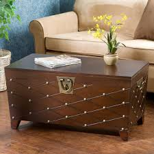 brown coffee table storage box blanket treasure chest nailhead