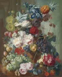 fruit and flowers and flowers in a terracotta vase