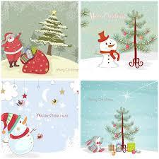 retro christmas cards retro christmas greeting cards vector set 2 free stock vector