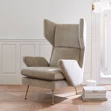 West Elm Ryder Rocking Chair Marcelle Wing Chair Worn Velvet Light Taupe Mid Century