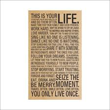free shipping new kraft paper poster this is your life english