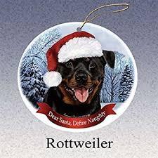 sandicast rottweiler with santa hat ornament