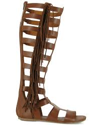 mia donata fringe gladiator sandals in brown lyst