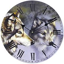 themed wall clock wolf wall clock nature themed room decoration eye