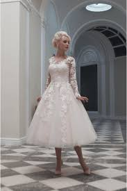 wedding dress with sleeves house of mooshki tea calf length lace wedding