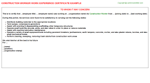 construction worker work experience certificate