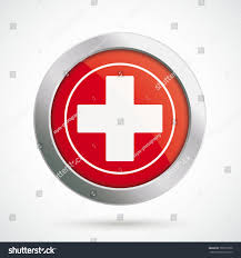 Flag Red With White Cross Button White Cross On Red Background Stock Vector 797015569
