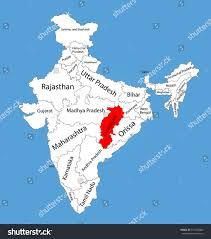 Indian Map Chhattisgarh Chhattisgarh State India Vector Map Stock Vector