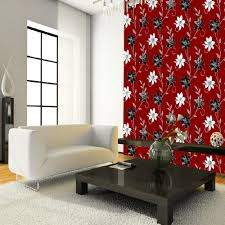 luciana flower floral leaf motif pattern red black metallic wallpaper