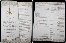 tea length wedding programs gold brown chandelier and ornate pattern vertical trifold