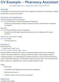 pharmacy assistant cv example u2013 cover letters and cv examples
