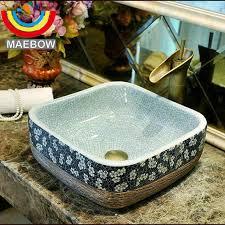 ceramic engraving crackle style porcelain engraving square ceramic bathroom sink