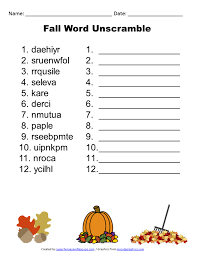 printable fall word unscramble